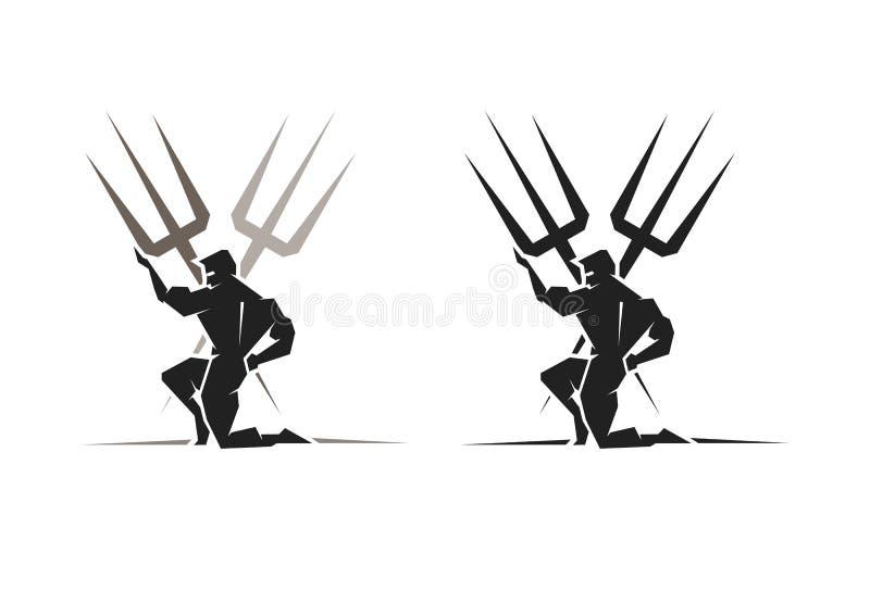 Греческий бог Poseidon иллюстрация вектора