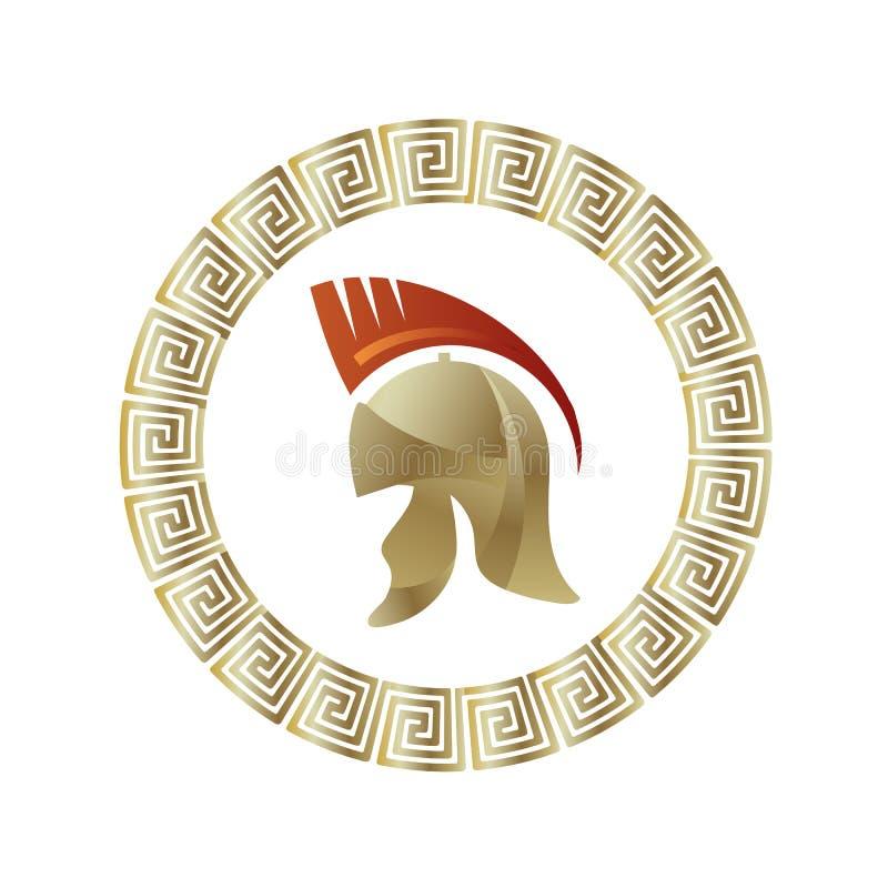 Греческий значок шлема Рамка градиента круга иллюстрация штока