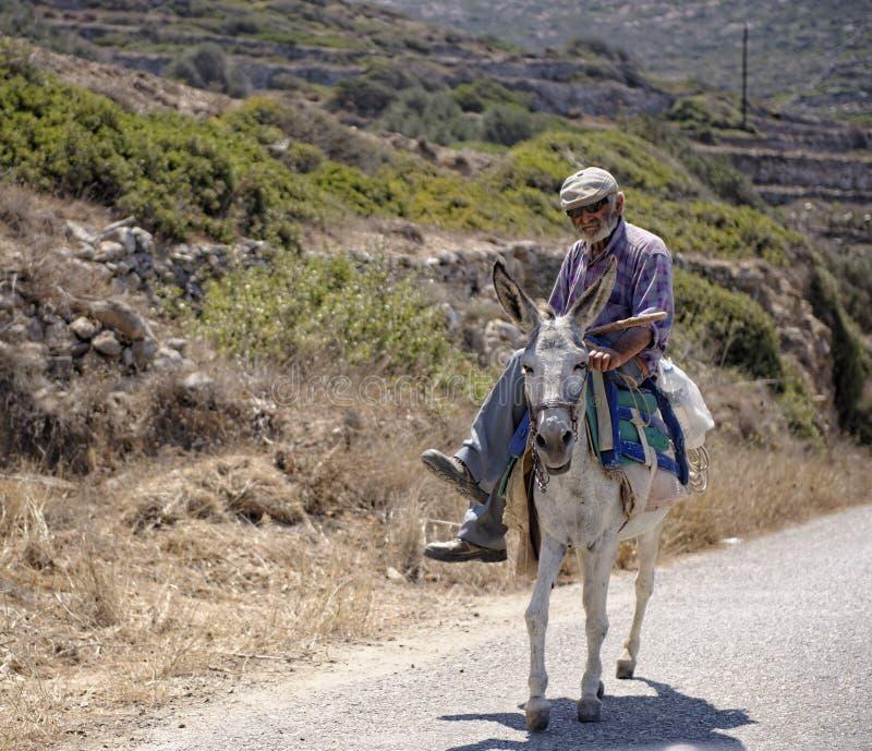 Греческий осел катания человека стоковое фото rf