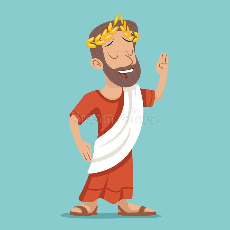 Греческий римский ретро винтажный значок персонажа из мультфильма бизнесмена на стильной иллюстрации вектора дизайна предпосылки бесплатная иллюстрация