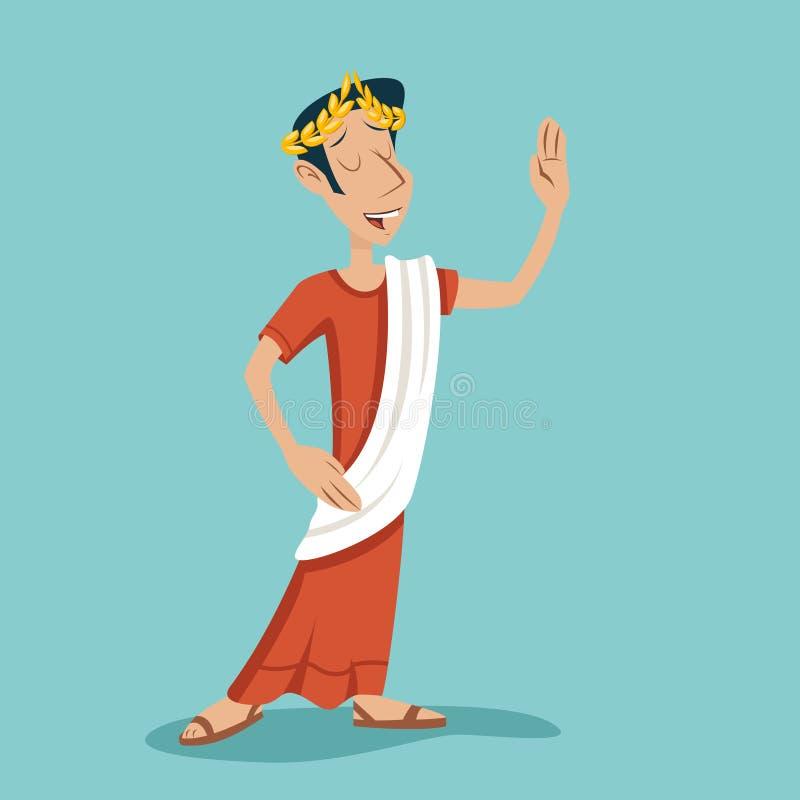 Греческий римский ретро винтажный шарж бизнесмена иллюстрация вектора