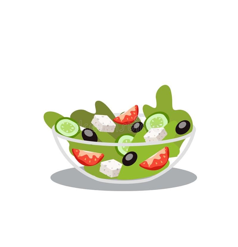 Греческий салат изолированный на бело- иллюстрации вектора иллюстрация штока