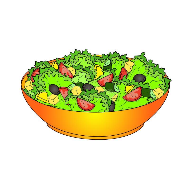 Салат искусства шипучки греческий или салат Horiatiki Правильное питание  Растр еды Имитационный шуточный стиль Иллюстрация штока - иллюстрации  насчитывающей ингридиент, сыр: 129688439
