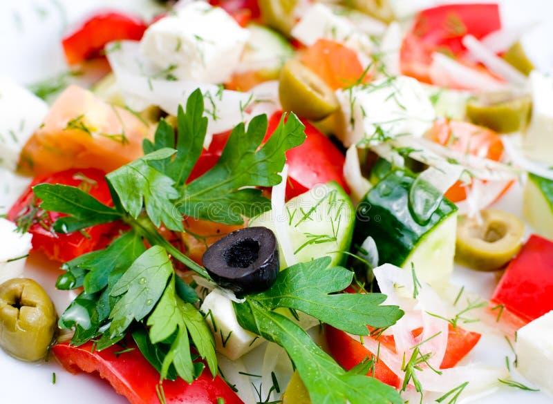 Греческий салат, макрос стоковое изображение rf