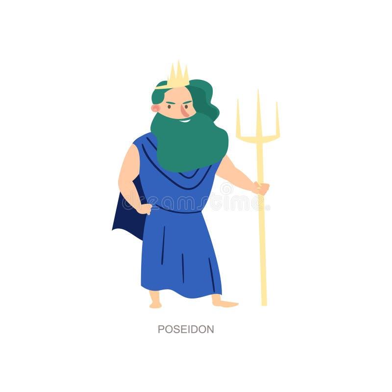 Греческий старый бог мифологии poseidon моря и океана иллюстрация штока