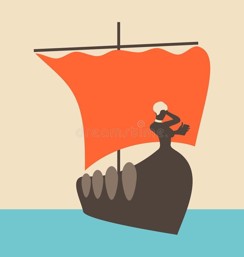 Греческий старый корабль иллюстрация штока