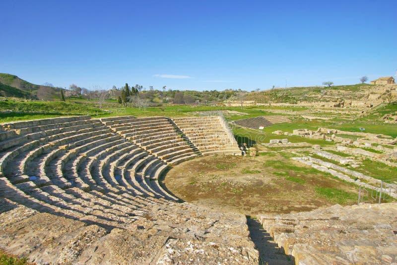 Греческий театр Morgantina, в Сицилии стоковое изображение