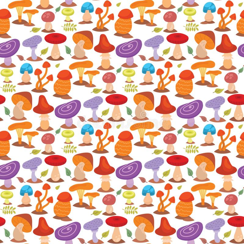 Грибки дизайна стиля искусства toadstool пластинчатого гриба грибка грибов различные vector картина красной шляпы иллюстрации без иллюстрация вектора