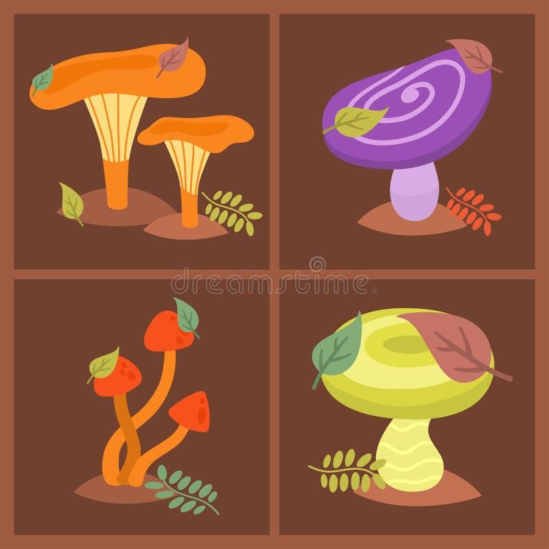 Грибки дизайна стиля искусства toadstool пластинчатого гриба грибка грибов различные vector шляпа красного цвета иллюстрации бесплатная иллюстрация
