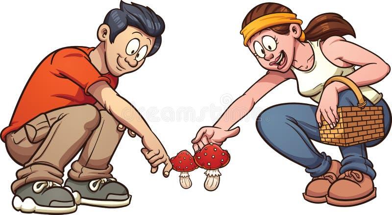 грибы выбирая вверх иллюстрация штока
