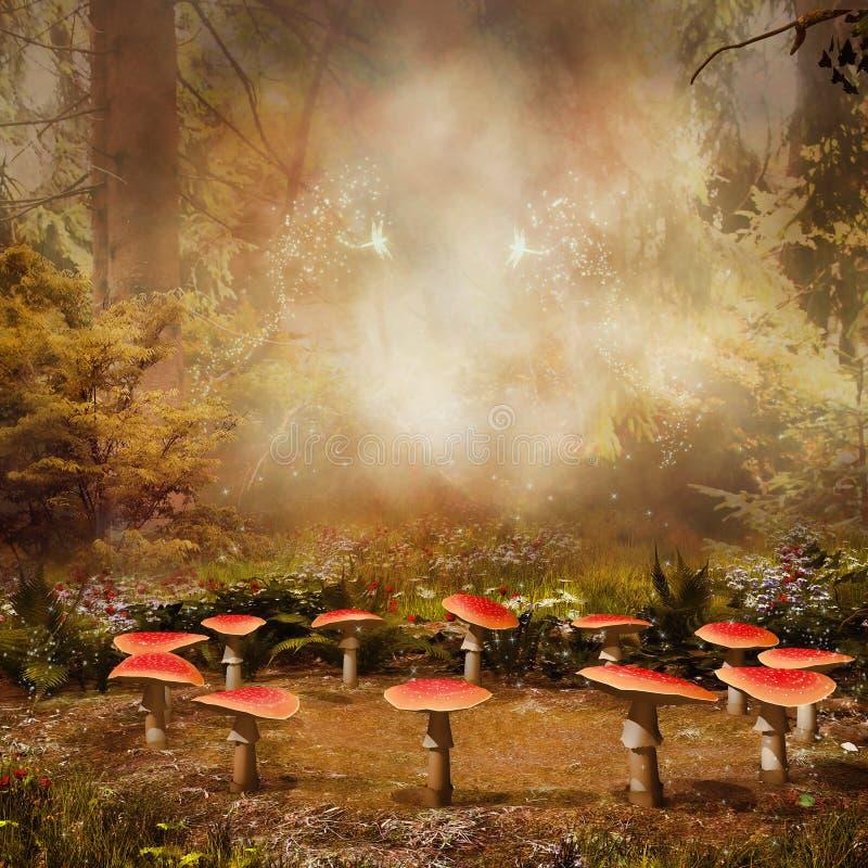 Грибы в лесе иллюстрация штока