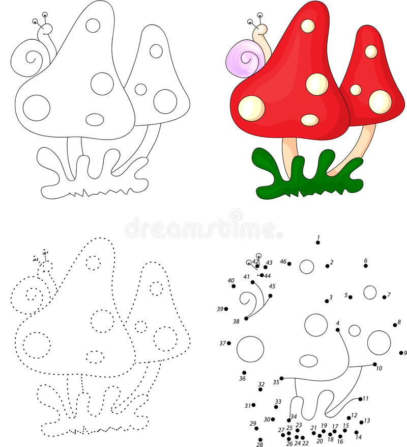 Грибы шаржа с улиткой Точка для того чтобы поставить точки игра для детей бесплатная иллюстрация