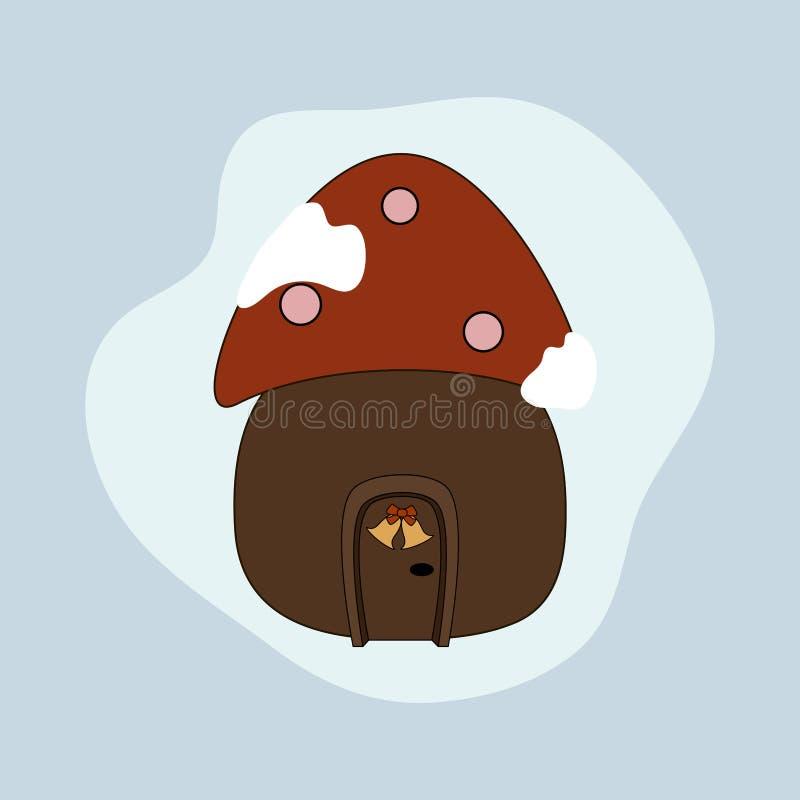 Гриб дома рождества Значок пластинчатого гриба мухы бесплатная иллюстрация