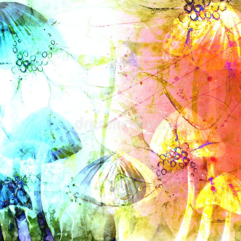 Гриб покрывает абстрактные иллюстрации предпосылки Grunge акварели стоковые фото