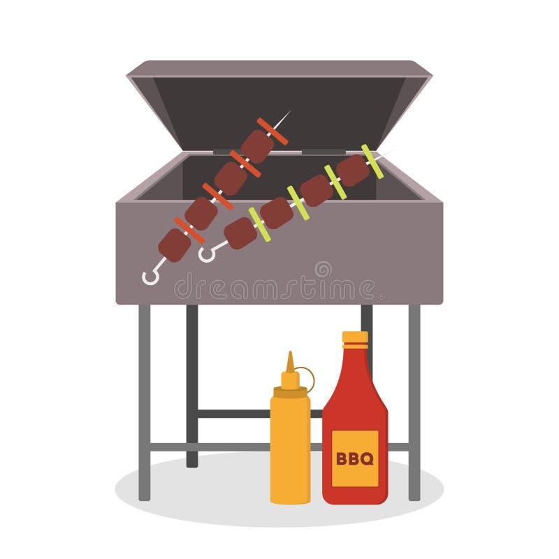 Гриль барбекю, зажаренное мясо и очень вкусный соус бесплатная иллюстрация