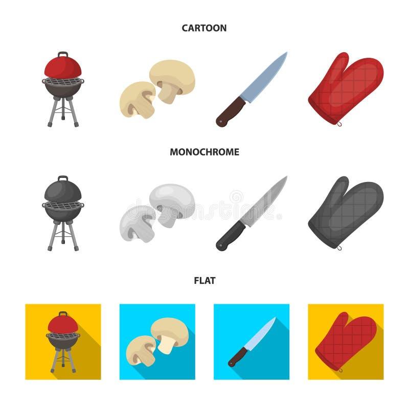 Гриль барбекю, champignons, нож, mitten барбекю Значки собрания BBQ установленные в шарже, плоском, monochrome векторе стиля иллюстрация штока