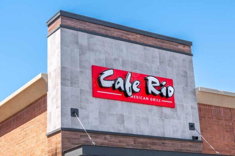 Гриль-ресторан Рио кафа мексиканские и логотип товарного знака стоковая фотография rf