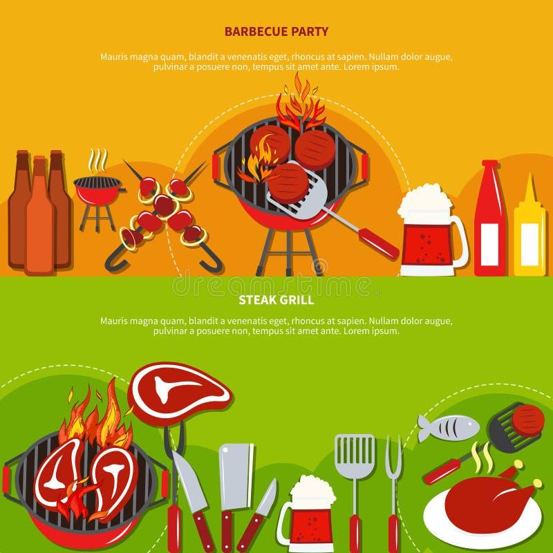Гриль стейка на партии барбекю иллюстрация штока