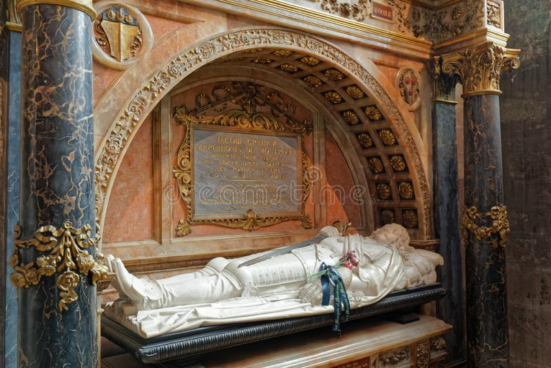 Гробница Джеймса Грэма, Маркиз Монтрозский - Собор Святого Джайлса - Эдинбург, Шотландия стоковое изображение rf