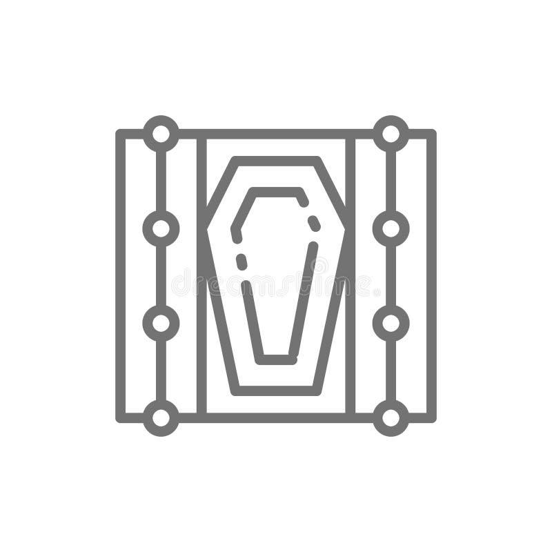 Гроб вектора в серьезной линии значке иллюстрация штока