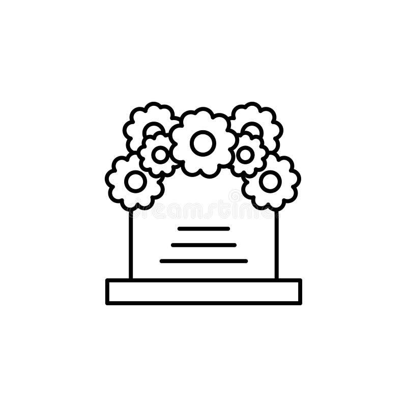 гроб, значок плана цветков детальный набор значков иллюстраций смерти r иллюстрация штока