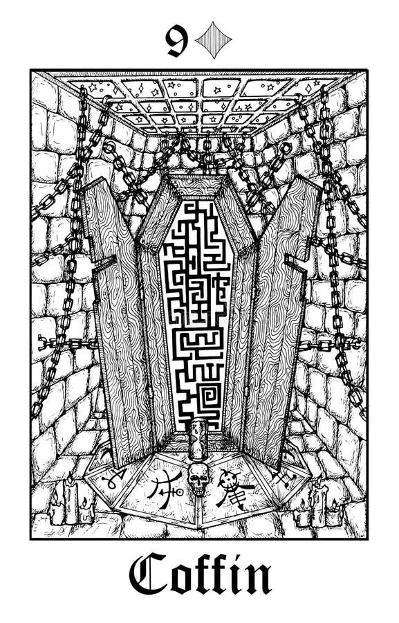 Гроб Карта Tarot от палубы оракула тайн Lenormand вектора готической иллюстрация штока