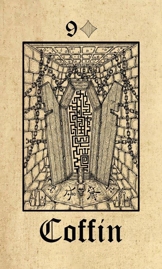 Гроб Карта Tarot от палубы оракула тайн Lenormand готической иллюстрация вектора