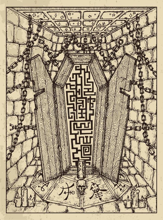 Гроб Мистическая концепция для карты tarot оракула Lenormand иллюстрация вектора