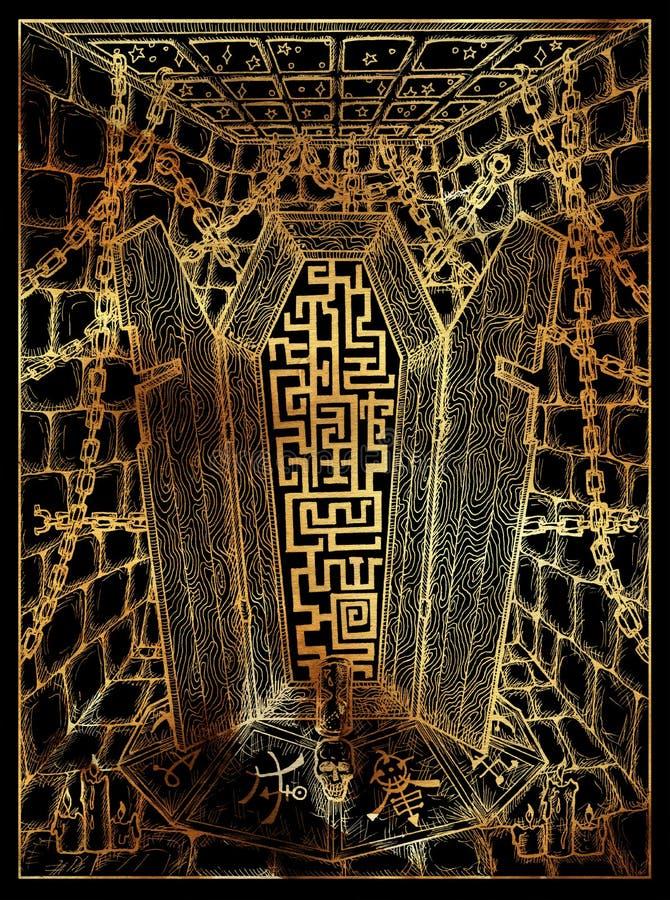 Гроб Мистическая wiccan концепция для карты tarot оракула Lenormand иллюстрация штока