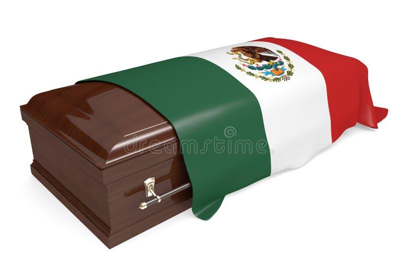 Гроб покрытый с национальным флагом Мексики иллюстрация вектора
