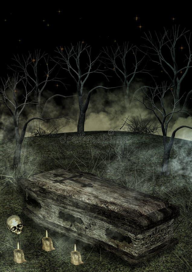 Гроб с свечами иллюстрация штока