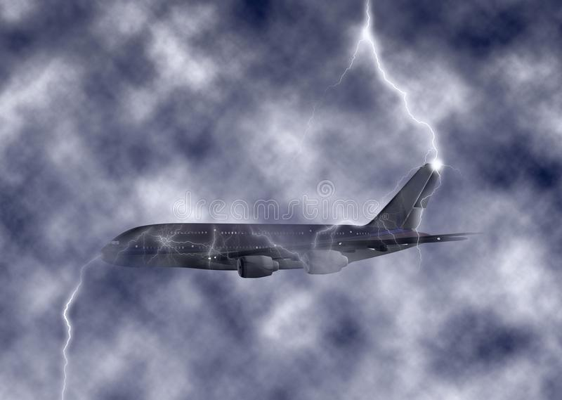 Громоздк - реактивный самолет пораженный иллюстрацией неба молнии турбулентной иллюстрация вектора
