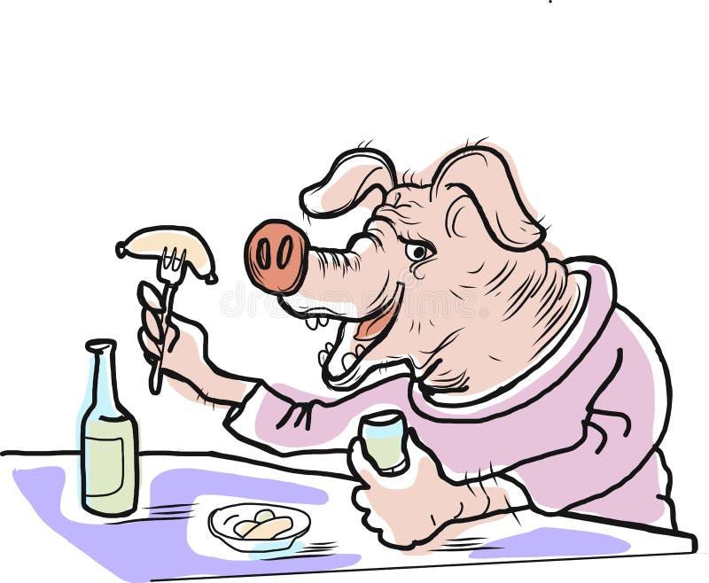 Грубая свинья ест сосиску и питье бесплатная иллюстрация