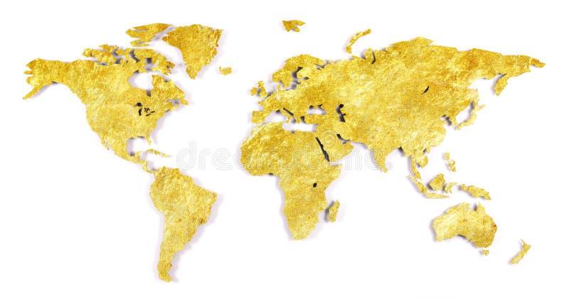 Грубо законспектированная карта мира - сияющее золото стоковые фото