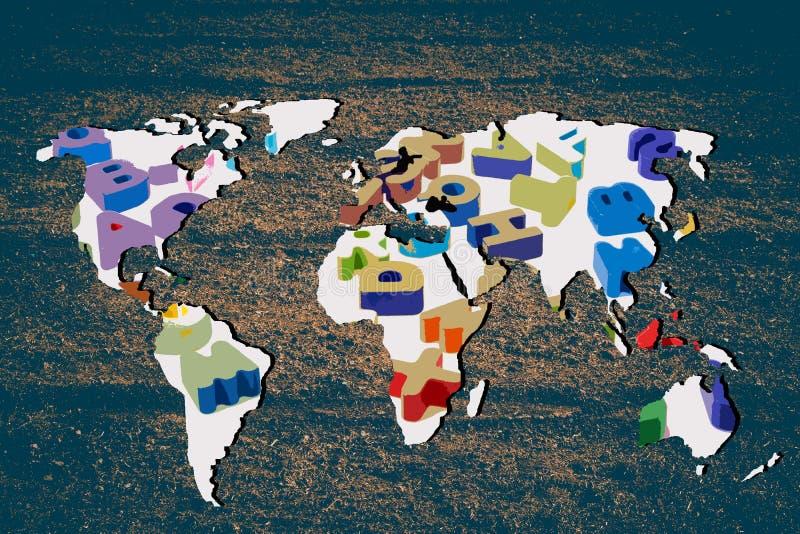 Грубо законспектированная карта мира с завалкой алфавита abc стоковые фото