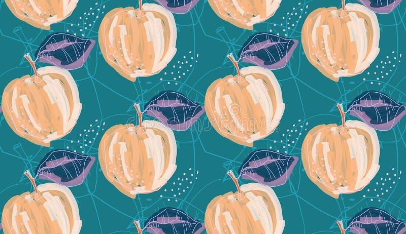 Грубые абстрактные оранжевые яблоки с лист на яркое ом-зелен иллюстрация штока