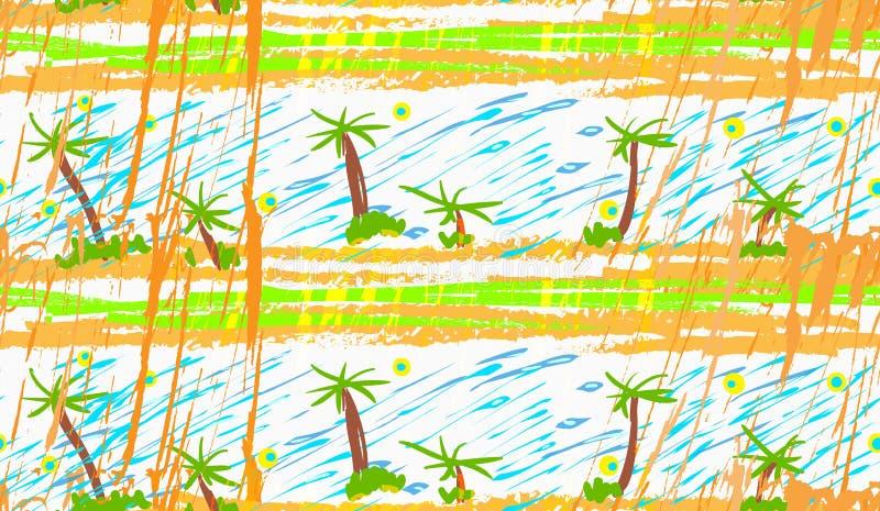 Грубые пальмы щетки иллюстрация вектора