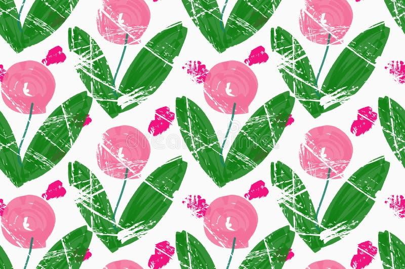Грубые розы пинка щетки с зелеными листьями иллюстрация штока