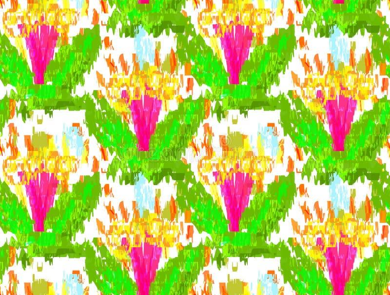 Грубые цветки пинка щетки с зелеными листьями иллюстрация вектора