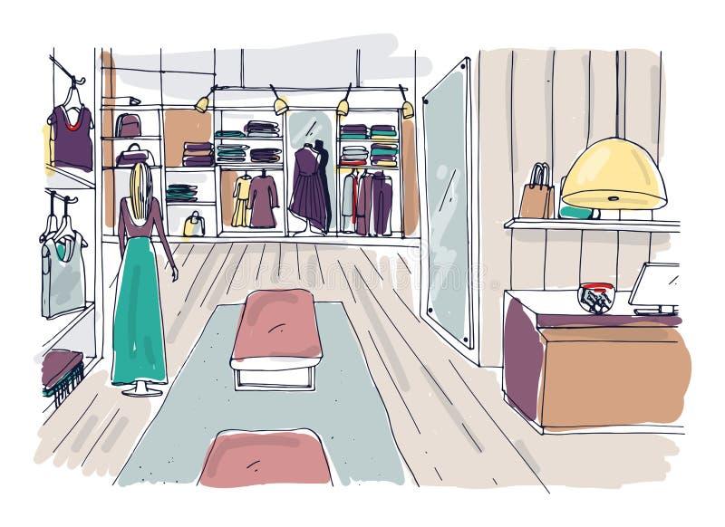 Грубый эскиз интерьера с вешалками, shelving выставочного зала одежды, меблировк, манекена одел в ультрамодных одеждах иллюстрация вектора
