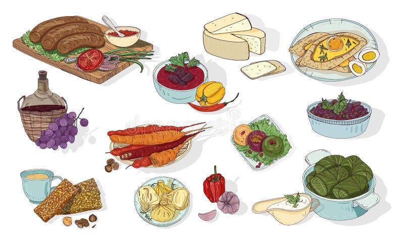 Грузинская кухня Различные тарелки Нарисованная рукой красочная иллюстрация вектора бесплатная иллюстрация