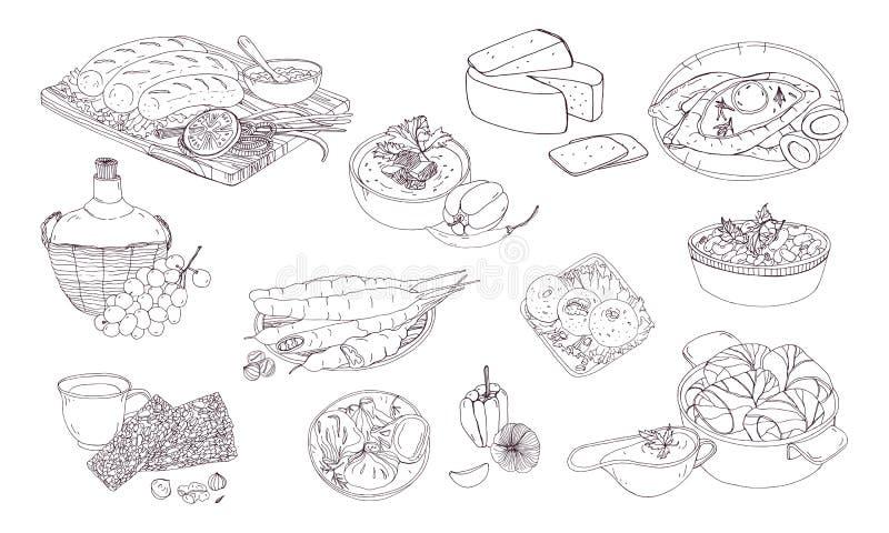 Грузинская кухня Различные тарелки Нарисованная рукой черно-белая иллюстрация вектора иллюстрация вектора