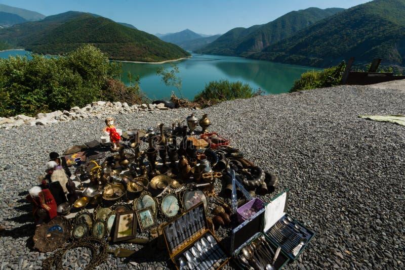 Грузинский воинский резервуар Zhinvali дороги стоковое изображение rf