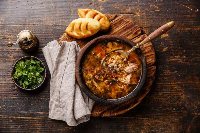 Грузинский суп Kharcho с мясом и рисом стоковое изображение rf