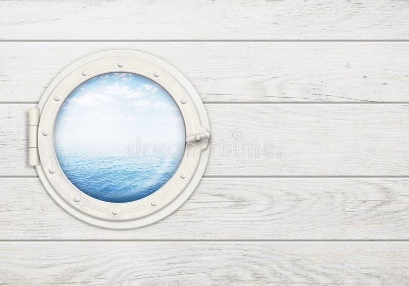 Грузите окно или иллюминатор на белой деревянной стене с стоковое изображение