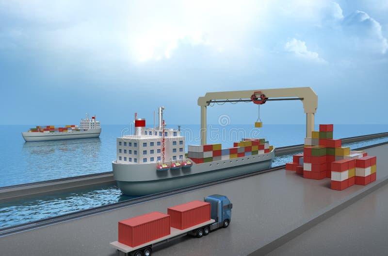 Грузовой контейнер крана поднимаясь и нагружать корабль иллюстрация штока