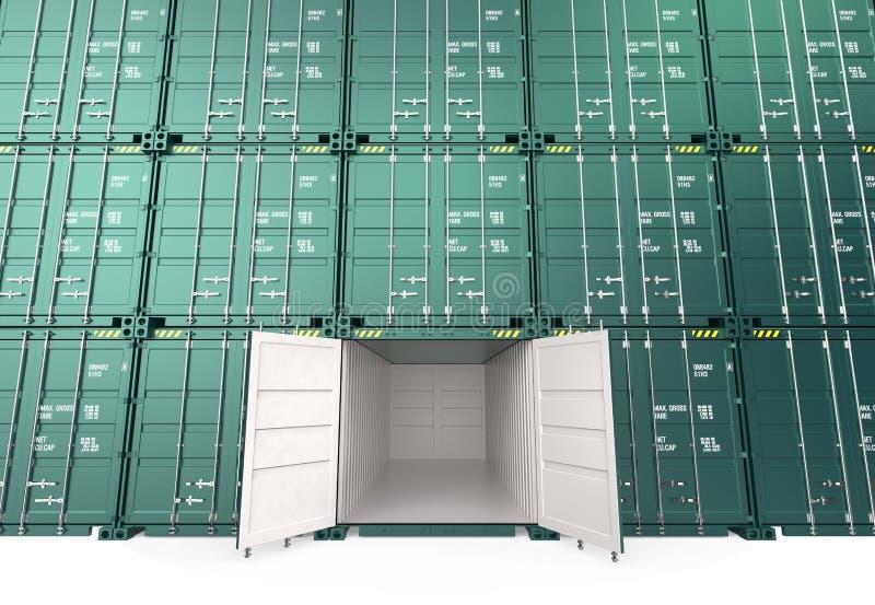 Грузовой контейнер стога, одно открытое иллюстрация вектора