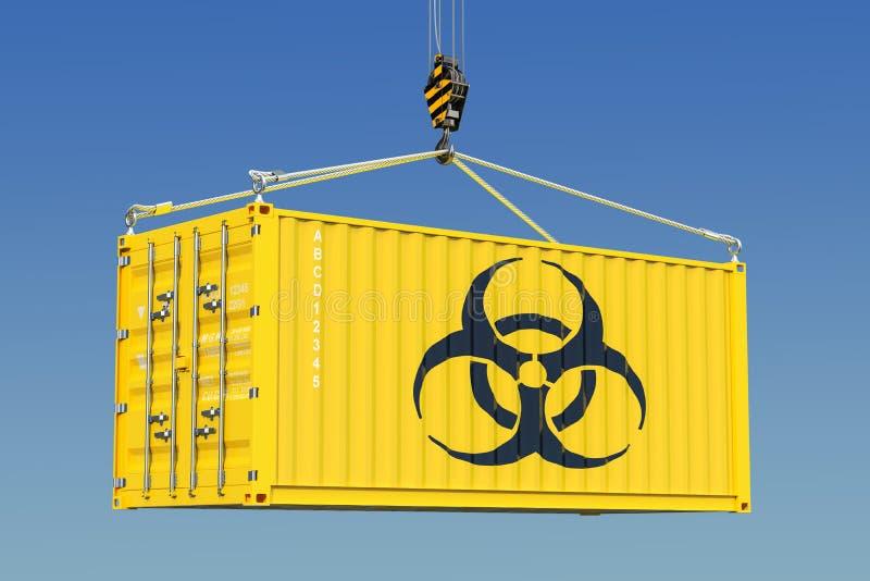 Грузовой контейнер с концепцией отхода био-опасности перевод 3d бесплатная иллюстрация