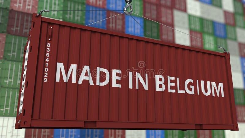 Грузовой контейнер с СДЕЛАННЫЙ В титре БЕЛЬГИИ Бельгийский перевод 3D импорта или экспорта родственный иллюстрация вектора