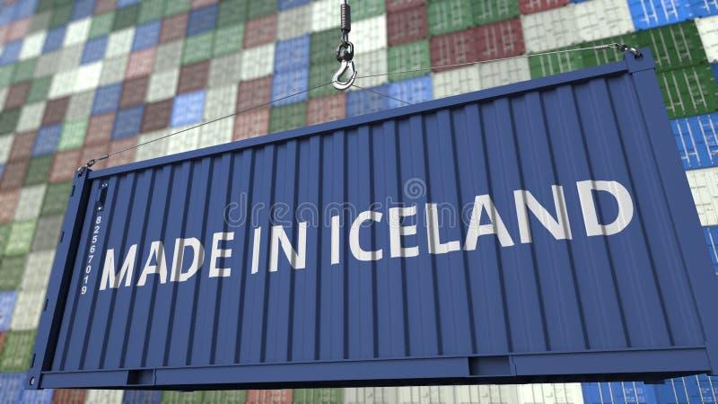 Грузовой контейнер с СДЕЛАННЫЙ В титре ИСЛАНДИИ Исландский перевод 3D импорта или экспорта родственный иллюстрация штока